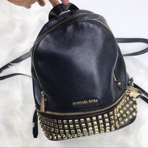Michael Kors Rhea black and good studded backpack